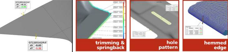 Fig. 12-15: Analysis of trim and springback, CAD edge, Inspection of hole patterns, Check- ing a hemmed edge
