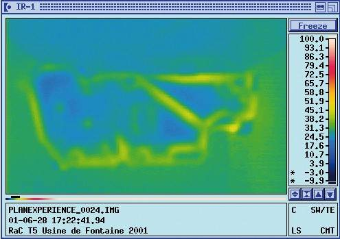 Thermograph image taken from each part, after one hour of cooling down. (front side / back side)