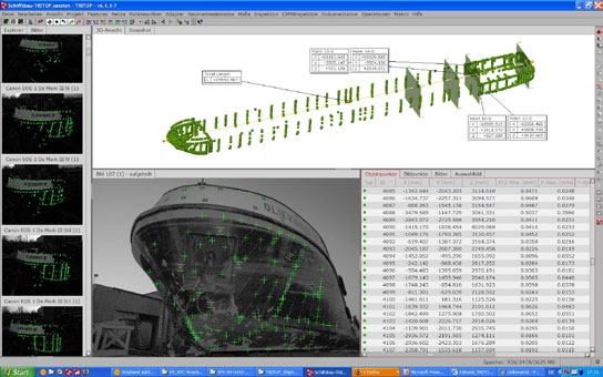 Measured 3D coordinates and sections within TRITOP software describing precisely the shape of the hull. Data were directly imported as IGES-format into CAD system of the Kooiman shipyard.