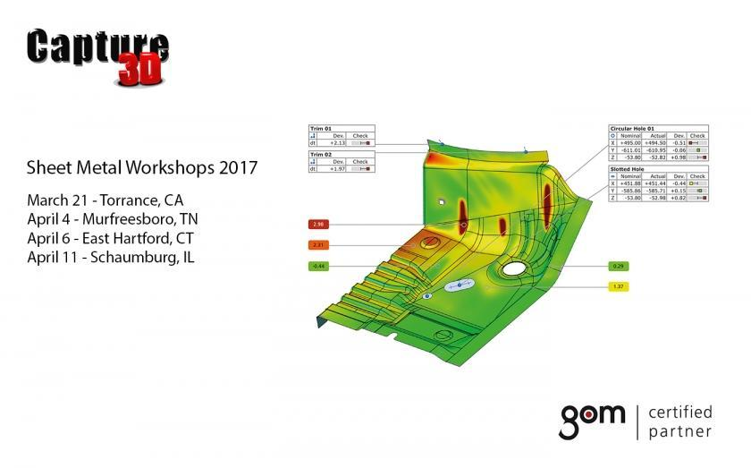 Capture 3D and GOM Sheet Metal Workshops in March and April